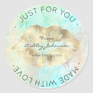 Made With Love Tiffany Gold Ocean Makeup Lips Kiss Classic Round Sticker