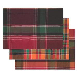 Madras Plaid Pattern Red Orange Caribbean  Wrapping Paper Sheets
