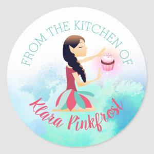 Magic cupcake baking fairy from the kitchen of classic round sticker