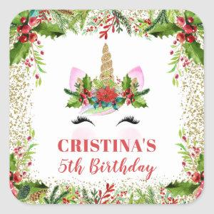 Magical Christmas Holly Berries Unicorn Birthday Square Sticker