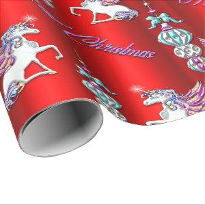 Magical Christmas Unicorns on Red Wrapping Paper