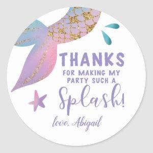 Magical Mermaid Birthday Thank You Favor Classic Round Sticker