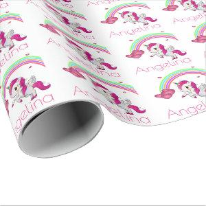 Magical Rainbow Unicorn Personalized Wrapping Paper