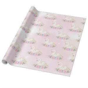 Magical Swan Princess | Pink & Purple Flowers Wrapping Paper