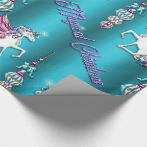 Magical Unicorn Blue Christmas Wrapping Paper