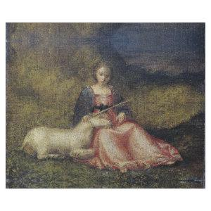 MAIDEN WITH UNICORN 16TH CENTURY ART DECOUPAGE WRAPPING PAPER