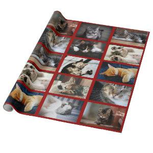 Make Your Own 10 Photo Collage on Dark Red Wrapping Paper