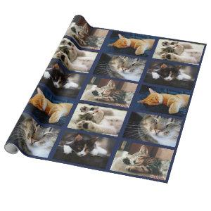 Make Your Own 5 Photo Collage on Navy Blue Wrapping Paper
