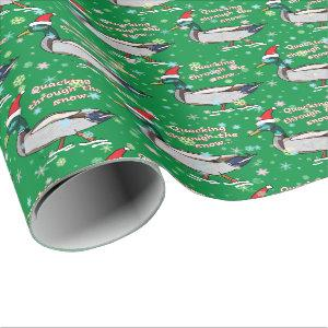 Mallard Duck in Santa Hat Quacking through Snow Wrapping Paper