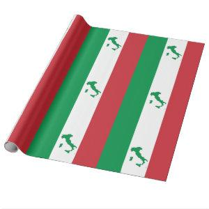 Map of Italy - Italian Flag Wrapping Paper