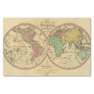 Map Of The World on the Globular Projection Tissue Paper