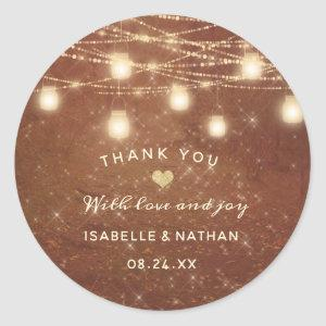 Maple Grove String Light Rustic Wedding Thank You Classic Round Sticker