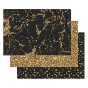 Marble Glitter Polka Dots Black/Gold Wrapping Paper Sheets