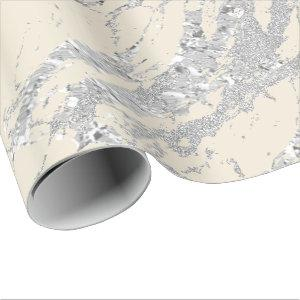 Marble Ivory Metal Silver Gray Strokes Abstract Wrapping Paper