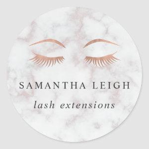 Marble & Rose Gold Lashes & Brows Beauty Classic Round Sticker