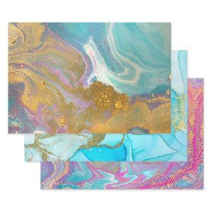 Marbled Swirls Pink Aqua Blue Gold Glitter Stylish Wrapping Paper Sheets