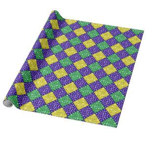 Mardi Gras Harlequin Diamond Carnival Pattern Wrapping Paper