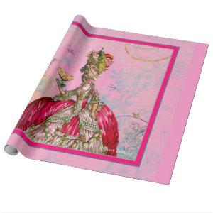 Marie Antoinette Cakes and Peacock Wrapping Paper