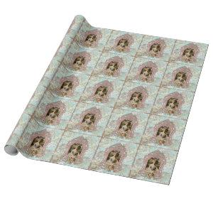 Marie Antoinette Portrait in Pink Wrapping Paper