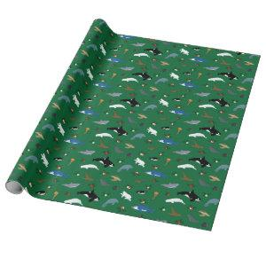 Marine Animals on Green Wrapping Paper
