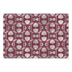 Maroon and Silver Art Deco Shell Pattern Wrapping Paper Sheets
