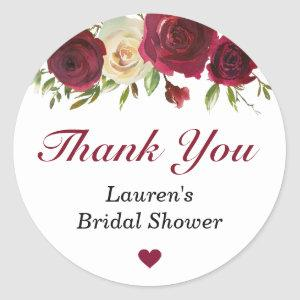 Marsala Burgundy Fall Gift Bridal Shower Thank You Classic Round Sticker