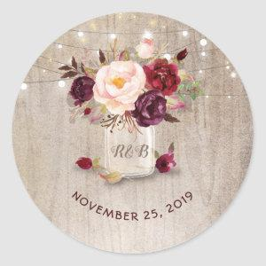 Marsala Flowers Mason Jar Rustic Wedding Classic Round Sticker