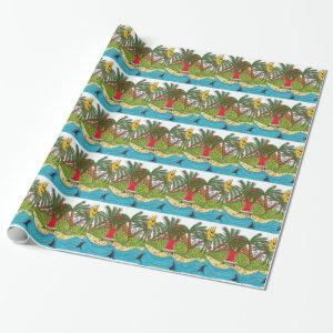 Martin and the desert island paradise wrapping paper