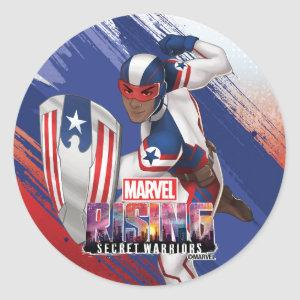 Marvel Rising   Patriot With Shield Classic Round Sticker