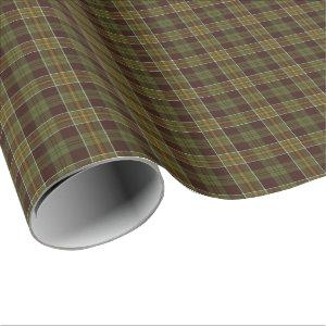 Masculine Brown and Moss Green Rustic Plaid Wrapping Paper