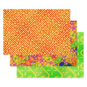 Meander, Tie Die and Aleppo Egyptian Wrapping Paper Sheets