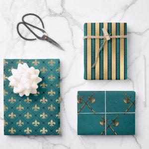 Medieval Gold Armor Teal Elegant Pattern Wrapping Paper Sheets
