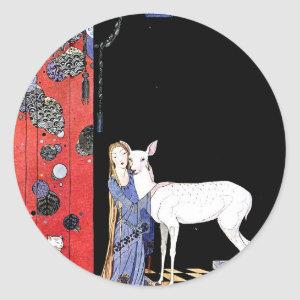 medieval gown classic round sticker