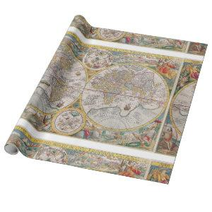 Medieval World Map From 1525 Wrapping Paper