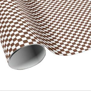 Medium Brown and White Checks Wrapping Paper