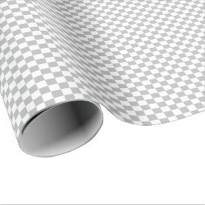 Medium Gray and White Checks Wrapping Paper
