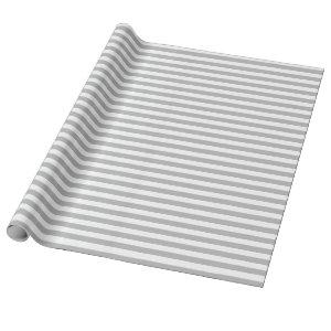 Medium Gray and White Stripes Wrapping Paper