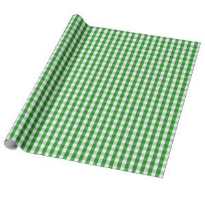Medium Green and White Gingham Wrapping Paper