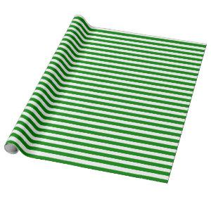 Medium Green and White Stripes Wrapping Paper