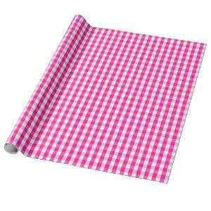 Medium Hot Pink and White Gingham Wrapping Paper