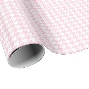 Medium Light Pink and White Houndstooth Wrapping Paper