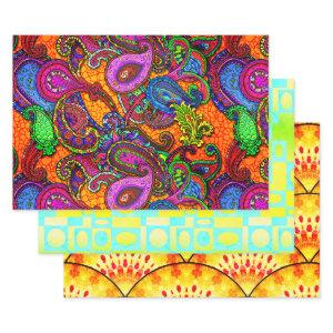 Melange Paisley Riot of Color Wrapping Paper Sheets