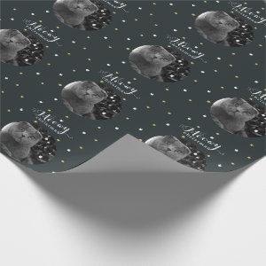 Meowy Christmas Cat Photo Holiday Gray Wrapping Paper
