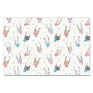 'Meowy Christmas' Holiday Cats In Antlers Pattern Tissue Paper