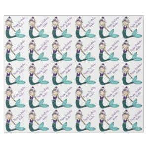 Mermaid Birthday wrapping paper, mermaid girl Wrapping Paper