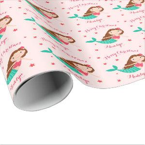 Mermaid Christmas Blush Pink Personalized Wrapping Paper