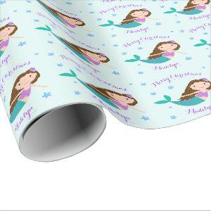 Mermaid Christmas Purple Glitter Personalized Wrapping Paper