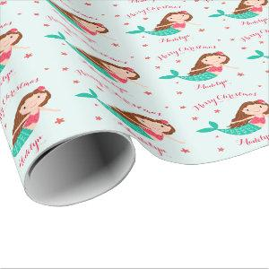 Mermaid Christmas Red Aqua Personalized Wrapping Paper