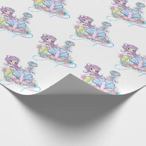 Mermaid First Birthday | Whimsical Sea Life Party Wrapping Paper