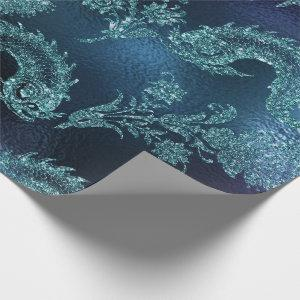 Mermaid Ocean Glitter Blue Navy Teal Sea-life Wrapping Paper